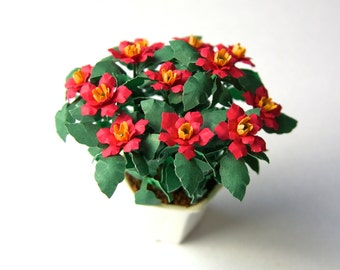 FLOWER KIT POINSETTIA miniature flower dolls house garden Scrapbook card-making