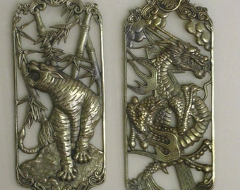 Pair Vintage Asian Brass Pierced Wall hanging Plaque, Tiger and Chinese Dragon Wall Art,