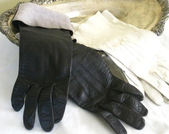 Vintage Ladies Leather Gloves, Pair of Unlined Black and White Soft Womens Formal Gloves, Small Mid Century USA Made Vintage Womans Apparel