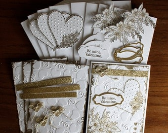 "Hand Stamped, ""Be Mine, Valentine"" Gold and White 4 Card Kit"