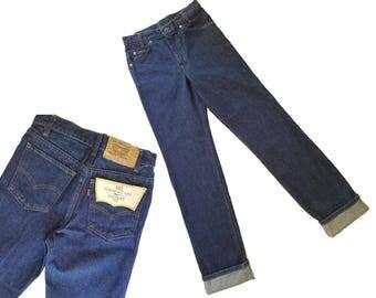 80s Vintage Levis Jeans DEADSTOCK + Tags Levi 718 Straight Leg Dark Wash High Waisted LEVIS Denim Jeans Boyfriend Fit Levi Jeans 28 x 33