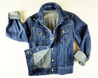 80s Vintage Jean Jacket Womens LEE Denim Jacket Shrunken Fit Jean Jacket Slim Fit Denim Jacket  Dark Wash Vintage Denim Jacket Small