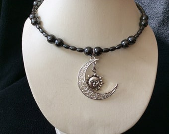 Moon and sun magnetic hematite hand beaded memory wire choker necklace