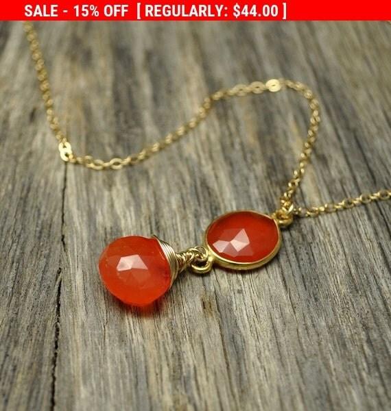 Holiday SALE - Firey Carnelian Bezel Gold Necklace