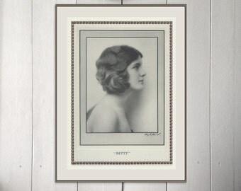 Vintage Print Portrait Betty, Scarce Art Deco, Book of Beauty, Monochrome Portrait Photogravure Hugh Cecil, 1926,  Frameable Art