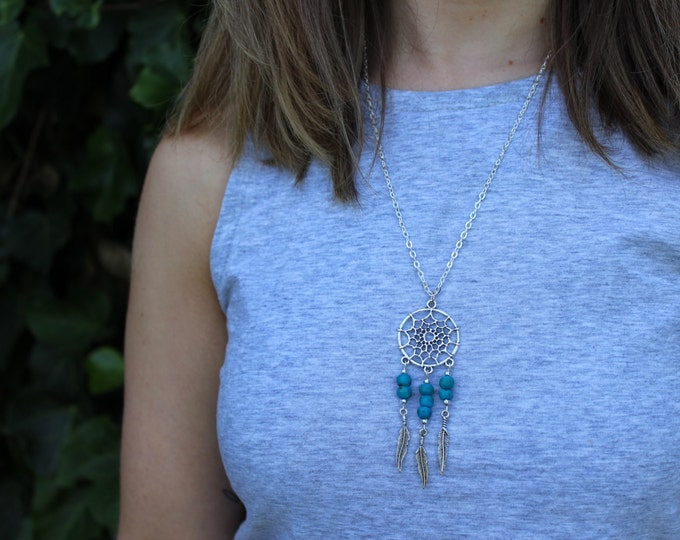 Turquoise Dreamcatcher Necklace.