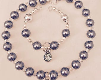 American Girl Sized Choker Necklace and Bracelet with Faux Gray Pearls and Clear Crystals