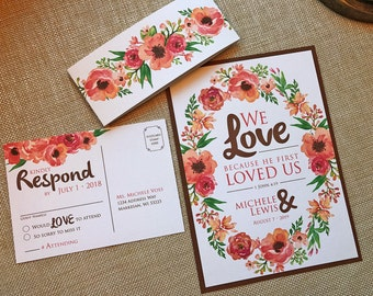 He First Loved Us Wedding Invitation, Christian Bible Verse, Watercolor Floral Wreath, Flower Leaf, Coral Green Brown, Belly Band - Sample
