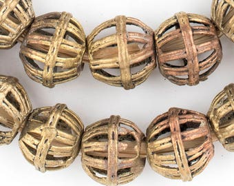 30 Caged Bicone Brass Filigree Beads 18x20mm - African Beads - Large Metal Beads - Centerpiece Beads - Made in Ghana (MET-BIC-BRS-193)
