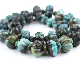 28 Flower-Shape Authentic Turquoise Beads: Turquoise Gemstone Genuine Gemstone Ethnic Stone Beads Stone Unusual Beads (TRQ-111)