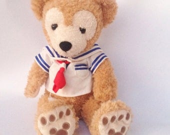 Vintage Walt Disney light brown red, white, and blue sailor Duffy bear teddy bear plush stuffed animal