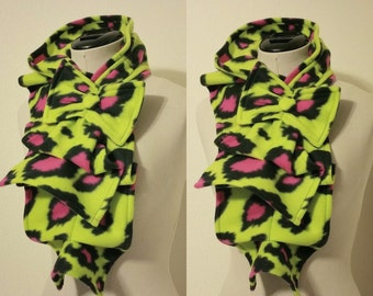Ruffled Bow Scarf - Fleece neon leopard print lime and hot pink-  Made-to-order