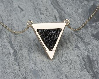 Druzy Black Crystal Necklace, Black Triangle Pendant, Black Drusy Stone Necklace, Geode Necklace, Druzy Agate Necklace, Layering Triangle