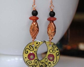 Yellow Crescent Earrings, Moon Enamel Earrings, Copper Earrings, Long Boho Chic Earrings, Moorish Flourigh Earrings, Unique Artisan Jewelry