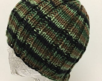 Camouflage Knit Hat, Mens Hat, Father son hat