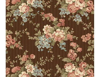 """Penny Rose Fabrics """"30's Minis"""" by Erin Turner. 100% cotton, pattern C4411 BROWN - Bouquet."""