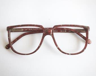 Vintage 1980's Marbled Burgundy Oversize Plastic Eyeglasses