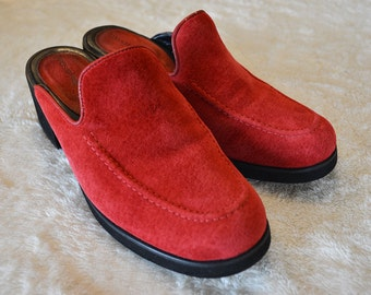 90s Red Suede Mules Hush Puppies Chunky Heels Slip Ons 90s Shoes Size 6.5M Epsteam