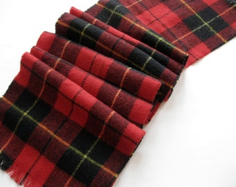 Wool Plaid Scarf, Mens Wool Scarf, Lochcarron Wool Scarf, Made in Scotland, Tartan, Red Plaid, by mailordervintage on etsy