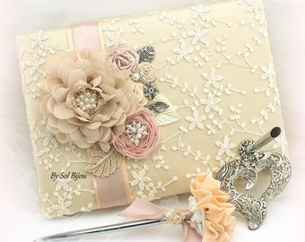 Guest Book, Champagne, Gold, Tan, Ivory, Blush, Rose,Elegant, Vintage Wedding,Lace Guest book,Signing Pen, Signature Book, Crystals, Pearls,