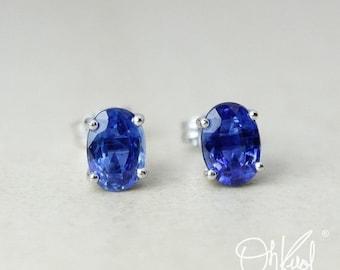 CHRISTMAS SALE Blue Kyanite Stud Earrings – Oval – 10K White Gold