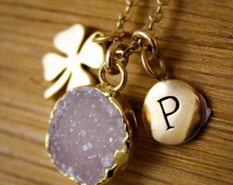 50 OFF SALE Gold Druzy and Four Leaf Clover Charm Necklace - with Initial Letter - Choose Your Druzy