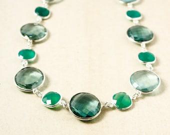 Green Onyx and Dark Teal Green Quartz Necklace – Aqua Quartz – 925 Sterling Silver