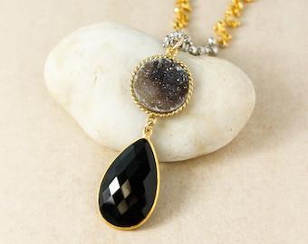 Gold Black Druzy & Black Onyx Teardrop Necklace - Long Necklace - Metallic Pyrite Chain