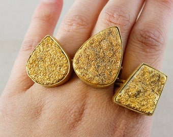 50% OFF Gold Druzy Ring – Select Your Shape