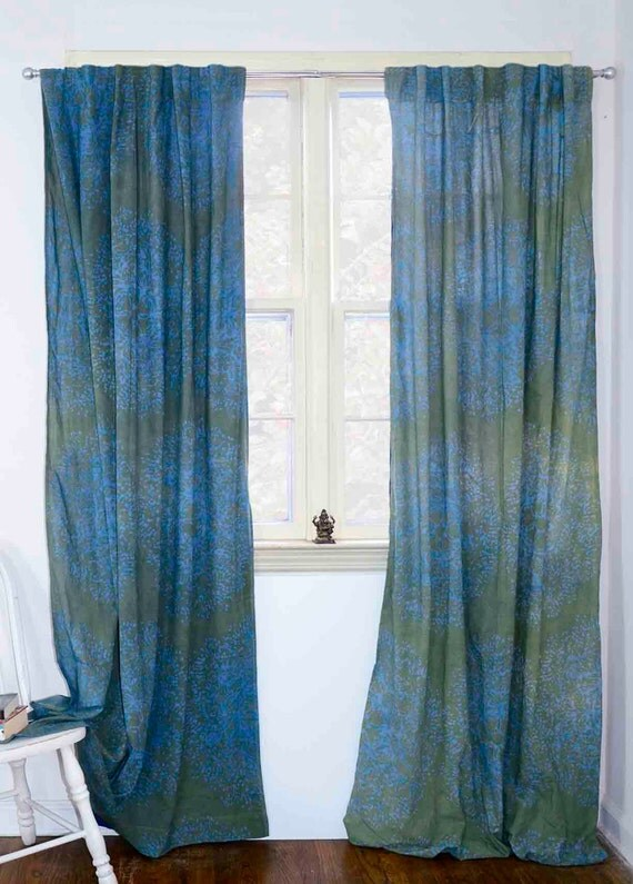 "Blue Green window curtains window treatment Block print natural dye home and living houseware -ONE panel - Tree Forest  44""w x 84""L"