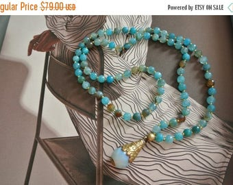 Clearance Sale 70% off Aqua Bohemian Beaded Hand Knotted Beaded Necklace,  Quartz Drop, Chic Layering Necklace, Celebrity Style