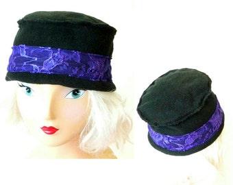 Cloche Style Hat- Black Fleece - Purple Lace - Hand Made - Black Polarfleece - Warm Hat - UNIQUE - Recycled - Warm