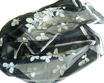 Scarf - Oblong - Sheer - Black - Silvery Roses - Floral - Flower - Border - Romantic - Wedding - Versatile - Recycled - Eco Friendly