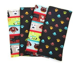 Kids Cloth Napkins, Cotton Reversible Napkins, Set of 4,Dog Print, Double Sided Lunchbox Napkins, 2 Ply, Reusable, Washable, EcoFriendly