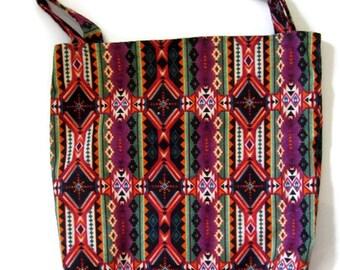 Tote Bag, Large Shopping Bag, Grocery Bag, Cotton Project Bag, Market Bag, Eco Friendly, Southwestern Print, Colorful Tote Bag,Flannel