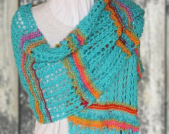 Knitting Pattern for Lace Shawl, Prayer Shawl Patterns, Garter and Lace Knit Wrap Tutorial, Rectangle Knitted Shawl Patterns, Knit Patterns