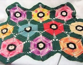 Hand Knitted Spring Doily Perfect Table Cover, Large Rainbow Doily, Hand Made Doily, Table Decor Doily, 20 x 13 1/2 Inch Large Doily