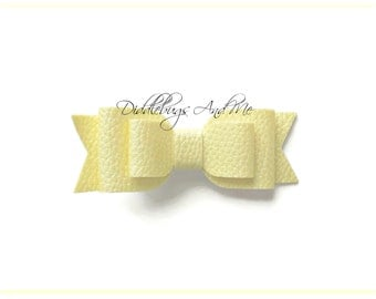 Yellow Faux Leather Hair Bow, Girls Hair Bow, Leather Hair Bow, Piggy Tail Bow, Bows For Toddlers, Spring Hair Bows, Easter Hair Bow,