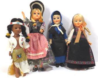 Set of Four Sleepy Eyed Girl Dolls Vintage 1960s 1970s Storybook Dolls - Swedish - American Indian - Amish