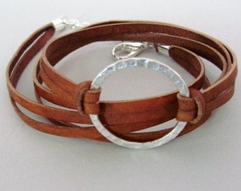 INFINITY Hammered Silver Circle  FLAT Leather Cord -Custom  Genuine NATURAL Indian Leather Wrap Bracelet - Adj. Triple Wrap Bracelet Usa 225