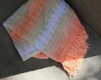 Vintage Afghan Blanket Crocheted Southwest Tribal Diamonds Fringe Peach Home Decor