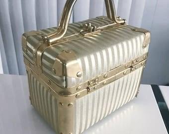 Vintage Gold Striped Train Case Purse -- CUTE!