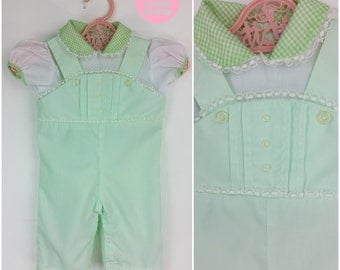 BABY SIZE - Adorable Vintage 60s Pastel Mint Green Cotton Overalls Romper for a Baby Girl!