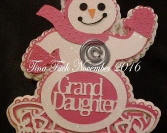 GrandDaughter Snowman Card, SVG,MTC,SCAL,Cricut,Silhouette,Cameo,ScanNCut