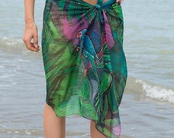 ON SALE 15 OFF Elegant Hand Painted Silk Chiffon Scarf Pareo Wrap Beach Sarong Top Hawaii Palm Parrot Green Blue Purple Pink