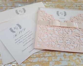 Laser pocket wedding invitation suite