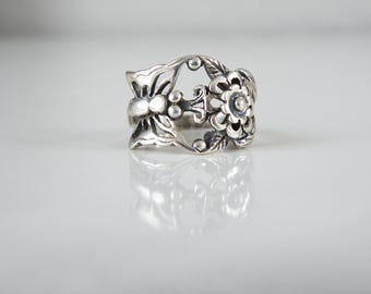 Vintage Sterling Silver 925 Flower Butterfly Sculpted Band Ring Size 8