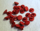 11 mm Vintage Red Shank Acrylic Buttons Set of 25