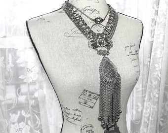 Vintage Assemblage Long Bold Stack Necklace, MultiStrand Silver Chain Statement Necklace, MultiDecade Assemblage Fashion Necklace