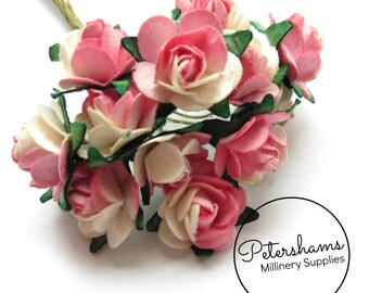 12 Wired Miniature Paper Roses Flower Picks for Millinery, Tiara Making - Pink & White